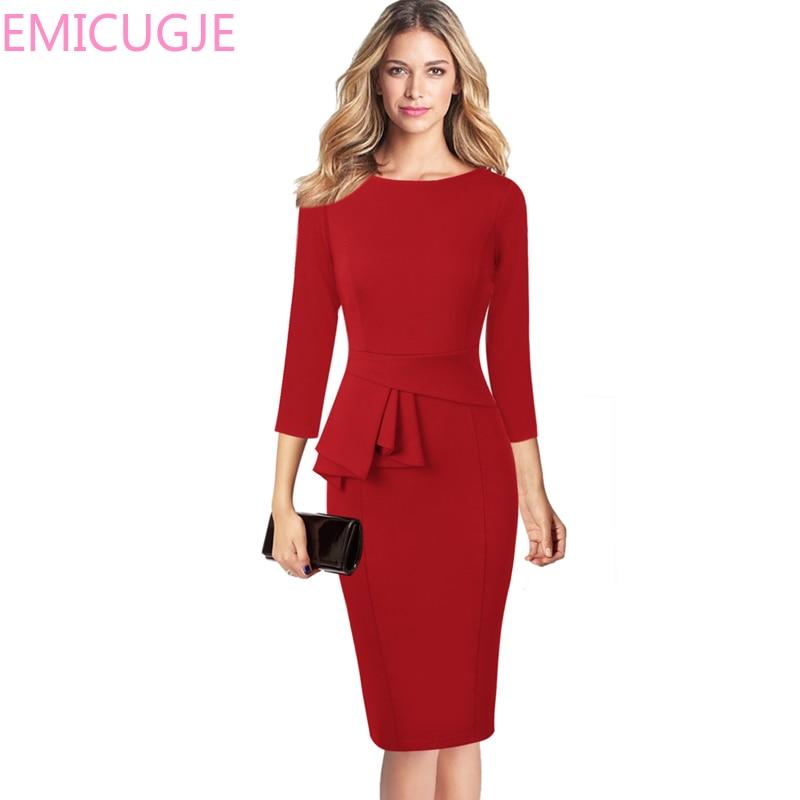 Porter au travail fête d'affaires Stretch moulante gaine robe Vfemage femmes automne élégant volants Peplum 3/4 manches tunique Vintage