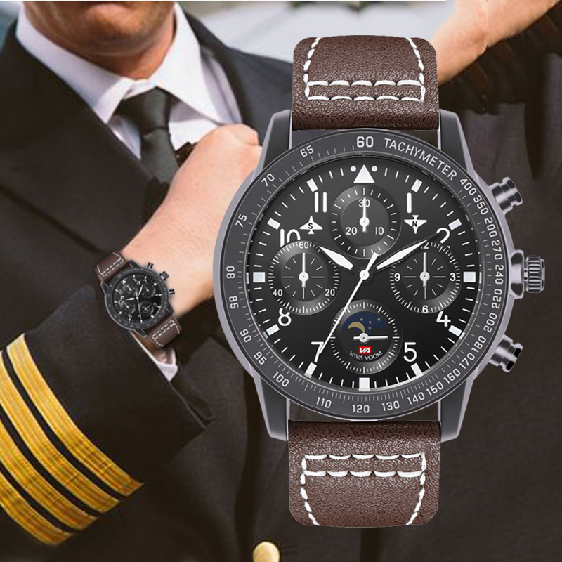 Military Men's Pilots Sports Watches Top Brand Luxury Leather Wrist Watch Fashion Big Dial 3 Bar Waterproof Quartz Clock Relojes