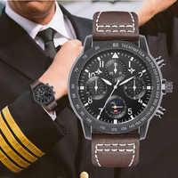 Relojes deportivos pilotos militares para hombre, marca superior de cuero de lujo de reloj de pulsera, reloj de cuarzo a prueba de agua de 3 Bar relojes