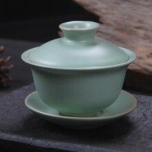 [GRANDNESS] Традиционный китайский чай набор Ruyao Gaiwan Celadon Gongfu Чайный набор супница чашка миска Gaiwan 120 мл Gaiwan чайный набор Ru Kiln