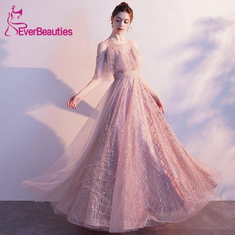 Abiye Gece Elbisesi Tulle   Evening     Dress   Long 2019 Shiny Women Prom Party   Dresses   Abendkleider Robe De Soiree