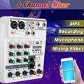Профессиональный 4 канальный аудио микшер звуковая карта 48В микшерный пульт Phantom Мощность музыка Запись bluetooth MP3 USB Вход