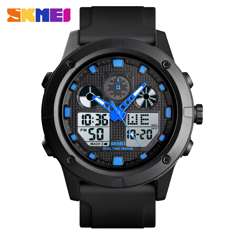 SKMEI Men Sport Watches Dual Time Display Digital