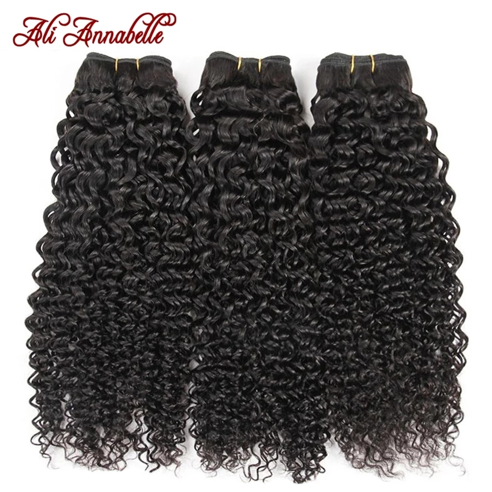 ALI ANNABELLE HAIR Brazilian Kinky Curly Hair 100% Human Hair Weave Bundles 1/3/4 Pieces Natural Color Remy Curly Hair Bundles