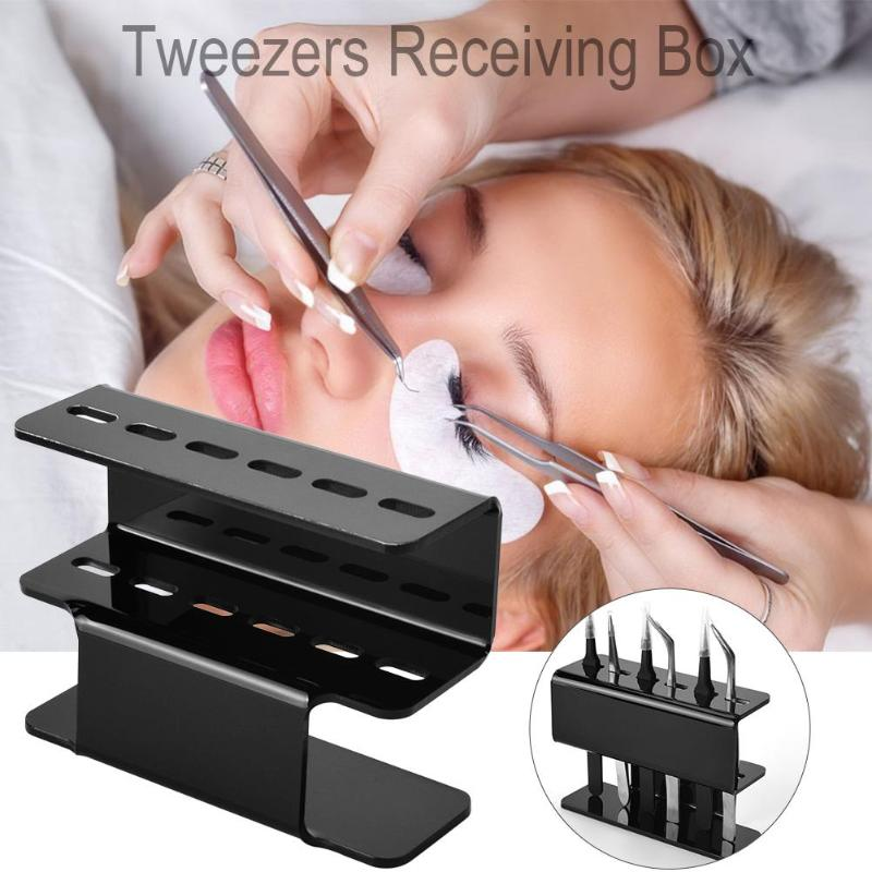 Image 2 - 6 Holes Eyelash Tweezers Storage Rack Eyelash Lash Extension Tools Organizer Holder Stand Nail Tattoo Beauty Tools Shelf-in Eyebrow Tweezers from Beauty & Health