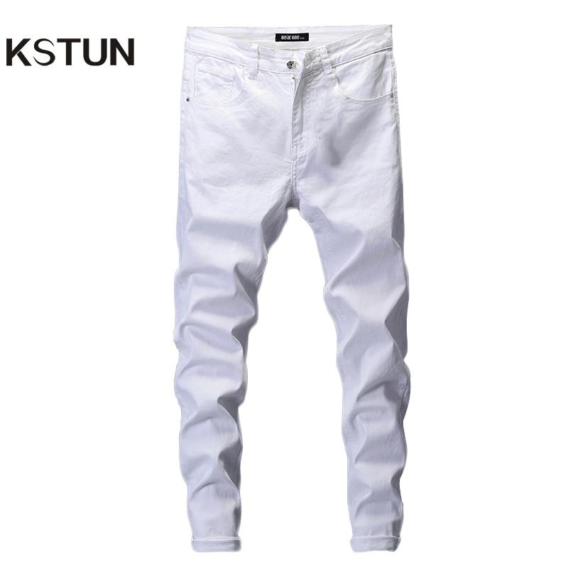 Обтягивающие джинсы для мужчин, однотонные белые мужские джинсы, брендовые Стрейчевые повседневные мужские модные джинсовые штаны, повседневные Молодежные брюки для мальчиков, размер 42|Джинсы|Мужская одежда - AliExpress