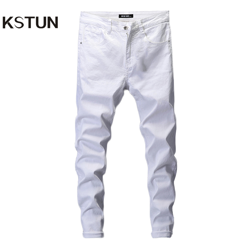 Skinny Jeans Men Solid White Mens Jeans Brand Stretch Casual Men Fashioins Denim Pants Casual Yong Boy Students Trousers Size 42