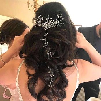 Kryształowa peruka perłowa pas ślubne ozdoby ślubne na włosy delikatne ślubne akcesoria do włosów biżuteria do włosów ozdoba na głowę dla panny młodej opaski tanie i dobre opinie Miedzi Pearl Perły słodkowodne Kobiety TRENDY CF4430 FAIRY