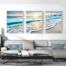 Sunrise costero decorativo playa fotografía lienzo póster, paisaje de mar azul olas lienzo impresión playa pared arte imagen