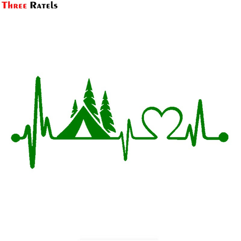 Three Ratels FTZ-44# 20x8.6cm Tent Camper Heartbeat Lifeline Monitor Camping Decal Sticker Car Truck Car Styling Vinyl Decals