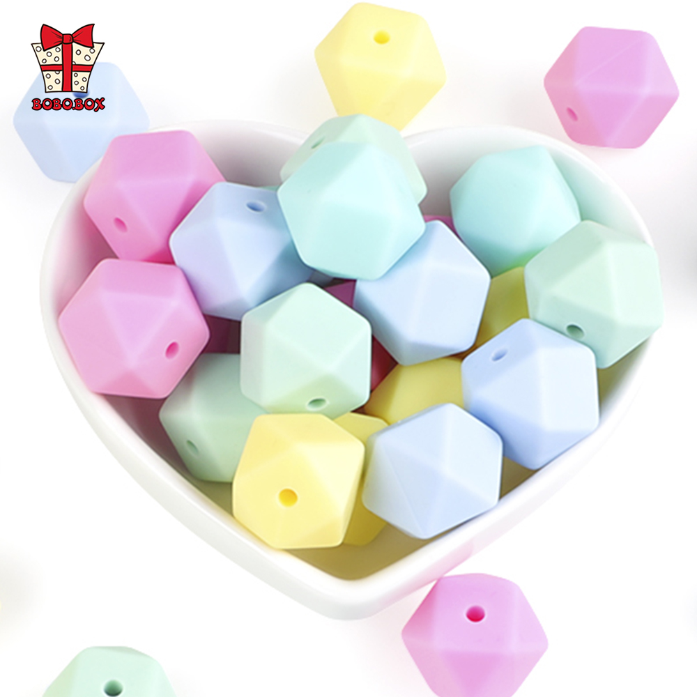 BOBO.BOX 20pcs Silicone Beads 14mm Baby Teething Teether Bead Food Grade Nursing Perle Silicone Baby Toy DIY Pacifier Accessory