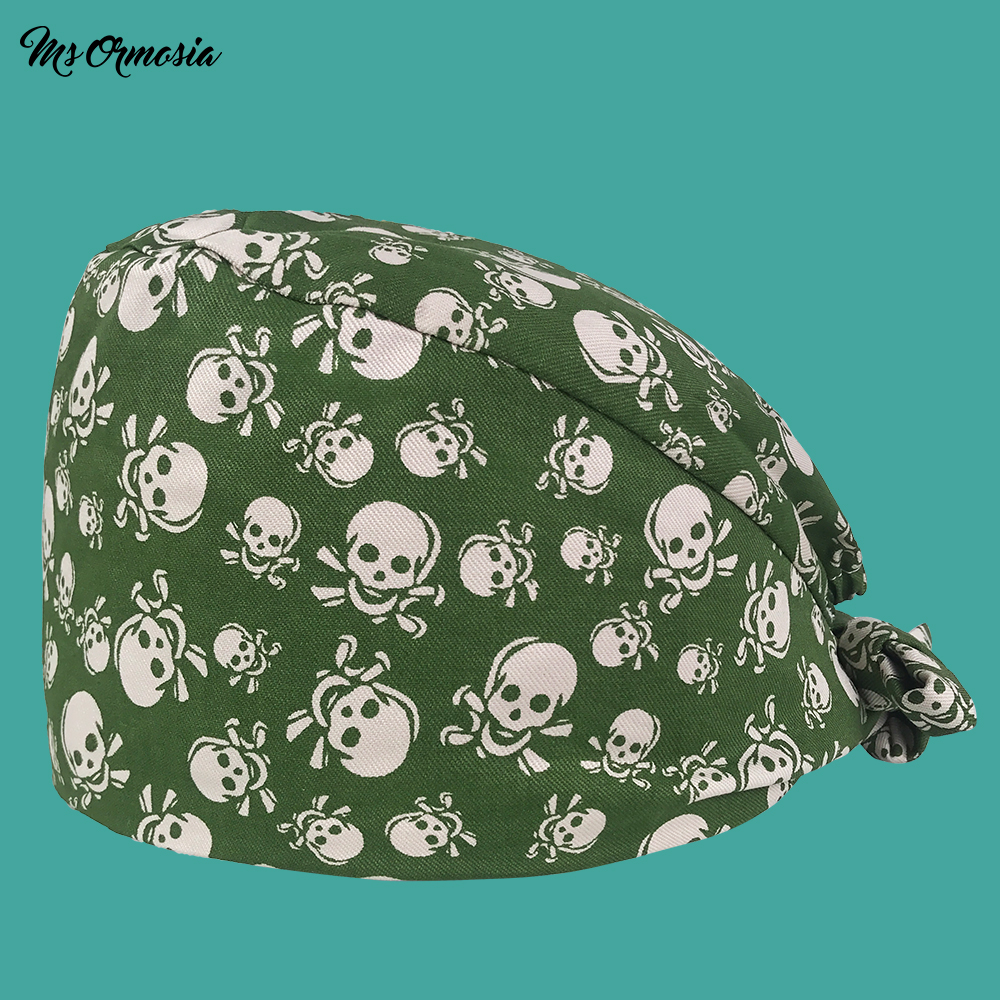 High Quality Green Printing Men And Women 100% Cotton Pharmacy Nurse Cap Elastic Band Bandage Surgical Cap Hospital Doctor Hat