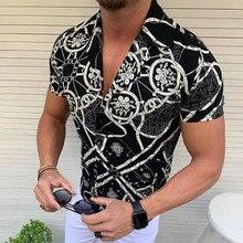 2021 Summer Men Shirt Printed Short Sleeve Lapel Button Streetwear Chic Loose Clothing Mens Hawaiian Shirts Vacation Camisa S-3X