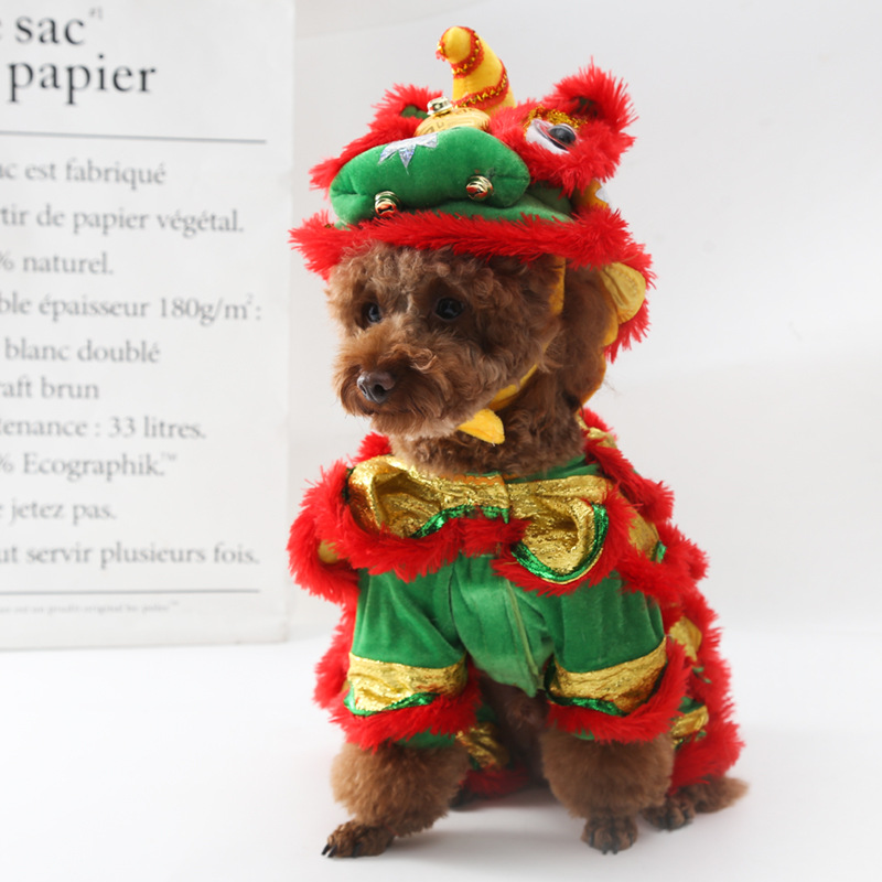 Funny Halloween Pet Cat Dog Costumes Clothes Chinese Lion Dance Suit For Small Medium Puppy Dogs Cats New Year Dress Up Apparel