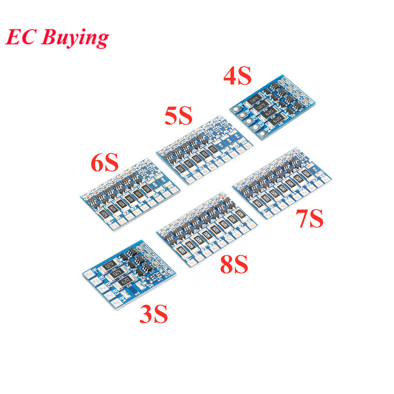 3S 4S 5S 6S 7S 8S 18650 Lithium Battery Protection Board Li-ion Lipo BMS PCM Balance Function Board Module 1S 3MOS 4MOS 6MOS image
