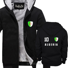 Hot sale winter thick jacket coat Style Algeria men thick hoodies Jersey Style Footballer Number ALL 10 Sporter hoody sbz6278
