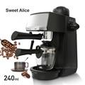 240ml SW-CRM2001 Semi Máquina de Café Expresso Vapor Tipo de Proteção Contra Sobretensão Superaquecimento Função de Pausa Cafeteira