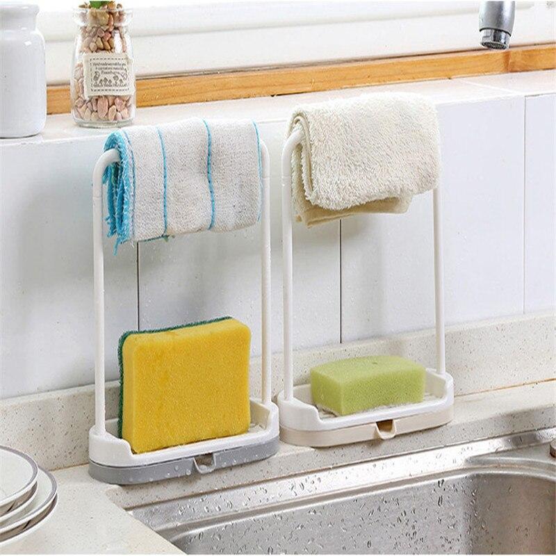 Kitchen Supplies Drain Shelf Surface Cleaning Rags Sponge Storage Racks