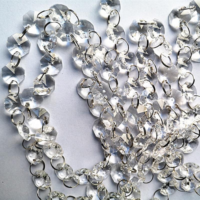 Beads Acrylic Diy Trimming Wedding 30m Beads Garland PartyChandelier Lighting Octagon Crystal Curtain Decorationacrylic Strand