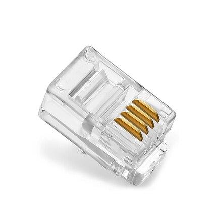 10PCS/Lot Telephone Cable Crystal Head RJ11 RJ12 Universal 4 Core 4p4c