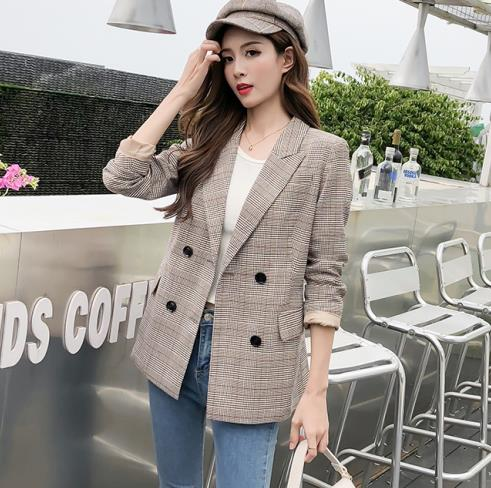 Blazer women temperament small lattice double breasted long sleeved suit jacket ladies jacket 2019 autumn new women 39 s clothing in Blazers from Women 39 s Clothing