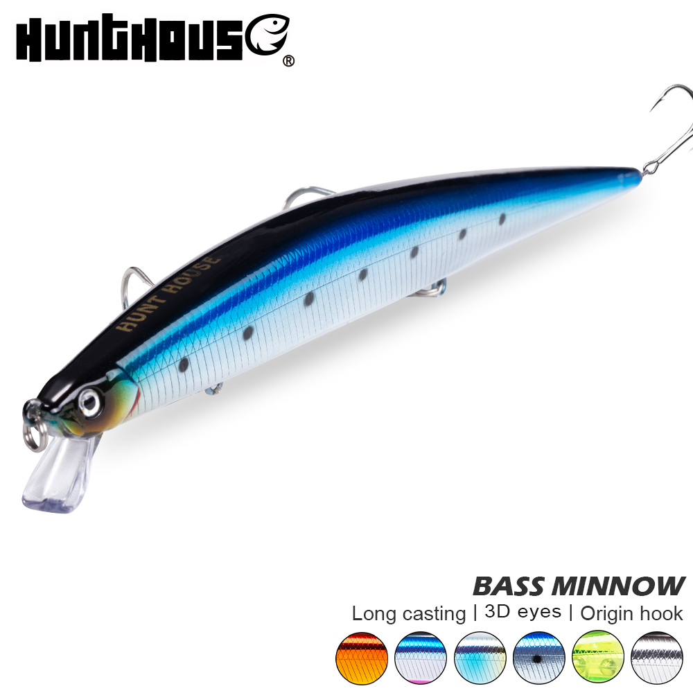 Hunthouse <font><b>fishing</b></font> <font><b>lure</b></font> jerk minnow bait slim tide minnow bait wobber <font><b>fishing</b></font> <font><b>lure</b></font> seabass swimbait sinking minnow saltwater image