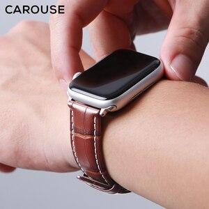 Image 4 - Carouse Genuine Kalbsleder Armband Für Apple Uhr Band Serie SE/6/5/4/3/2/1 38mm 42mm Lederband Für iWatch 40mm 44mm