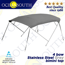 Oceansouth Stainless Steel 4 Bow Bimini 25mm 316 Tube Heavy Duty Boat cover Top Canopy Water Sun proof UV Protection Grey