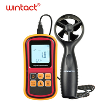 Handheld Digital Wind Speed Meter Anemometer Air Flow Velocity Tester Measuring Device with Backlight Temperature and Wind Chill gm8910 handheld digital anemometer wind speed meter with wind chill dew point tester