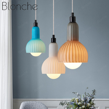 Blonche Modern Stained Glass Pendant Light Colorful Led Hanging Lamp Hanglamp for Dining Room Kitchen Decor Fixtures Luminaire