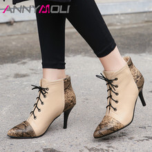 ANNYMOLI Autumn Ankle Boots Women Snake Print Thin Heel Short Boots Lace Up Extreme High Heel Shoes Ladies Winter Plus Size 3-12