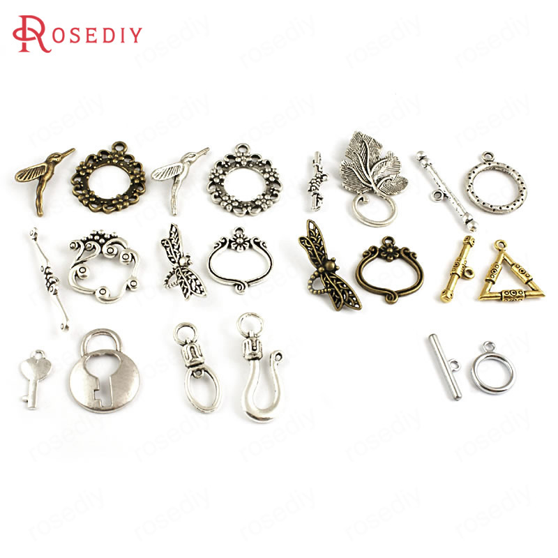 10 Sets Zinc Alloy Dragonfly Triangle Grape Leaf Hummingbird OT Bracelet Toggle Clasps Diy Accessories Jewelry Making Supplies