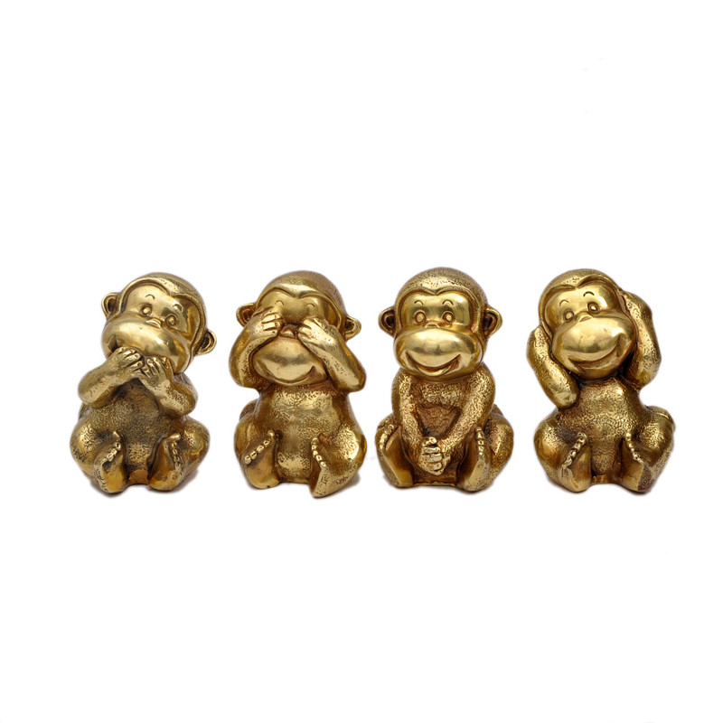Omen géomantique Lucky Four pas singe laiton Sculpture décorations pour la maison salon 12 zodiaque Feng Shui ornements métal artisanat