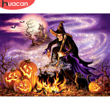 Huacan Halloween 5D Lukisan Berlian Penuh Diamond Mosaik Kartun Diamond Bordir Seni Berlian Imitasi Cat dengan Berlian(China)