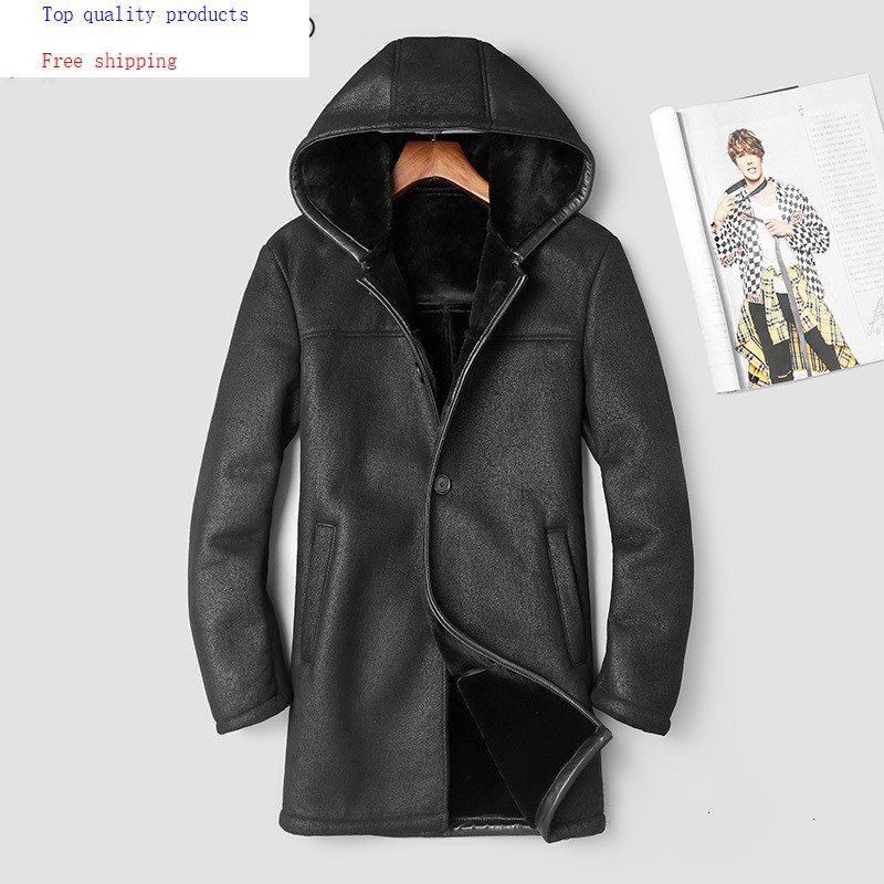 2020 Genuine Leather Jacket Men Winter Coat Hooded Sheep Shearling Jacket Man Warm Men's Leather Jackets 8087 KJ2991