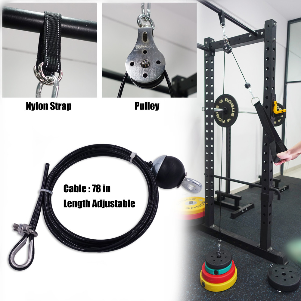 Fitness Pulley Cable System DIY Loading Pin Lifting Triceps Rope Machine Workout Adjustable Length Home Gym