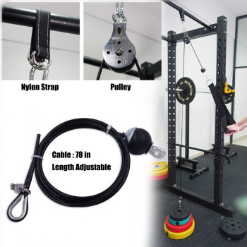 Fitness Pulley Cable System DIY Loading Pin Lifting Triceps Rope Machine Workout Adjustable Length Home