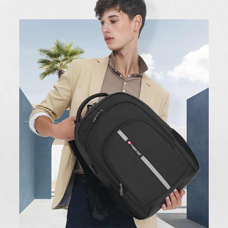 Tigernu Рюкзак Мужской Большой емкости Водостойкий Рюкзаки для ноутбуков 15,6-дюймовый дорожная сумка с отражающей полоской USB Зарядка