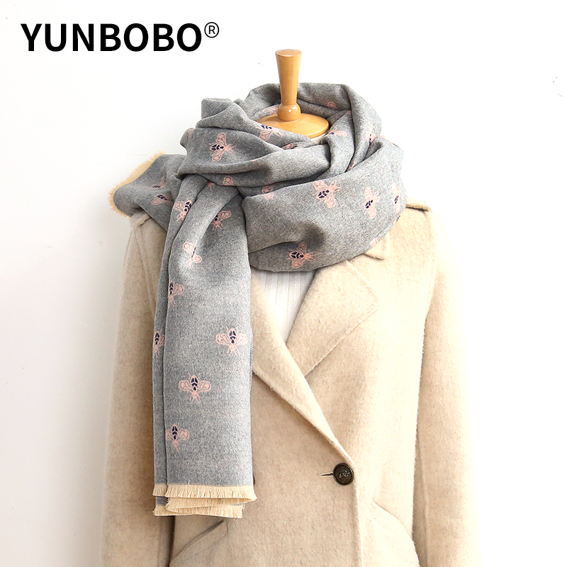 Luxury Brand Double-sided Scarf Women Mrs Winter Warm Cashmere Shawl Scarf Animal Bee Printing Soft Thin Blanket Holiday Gifts