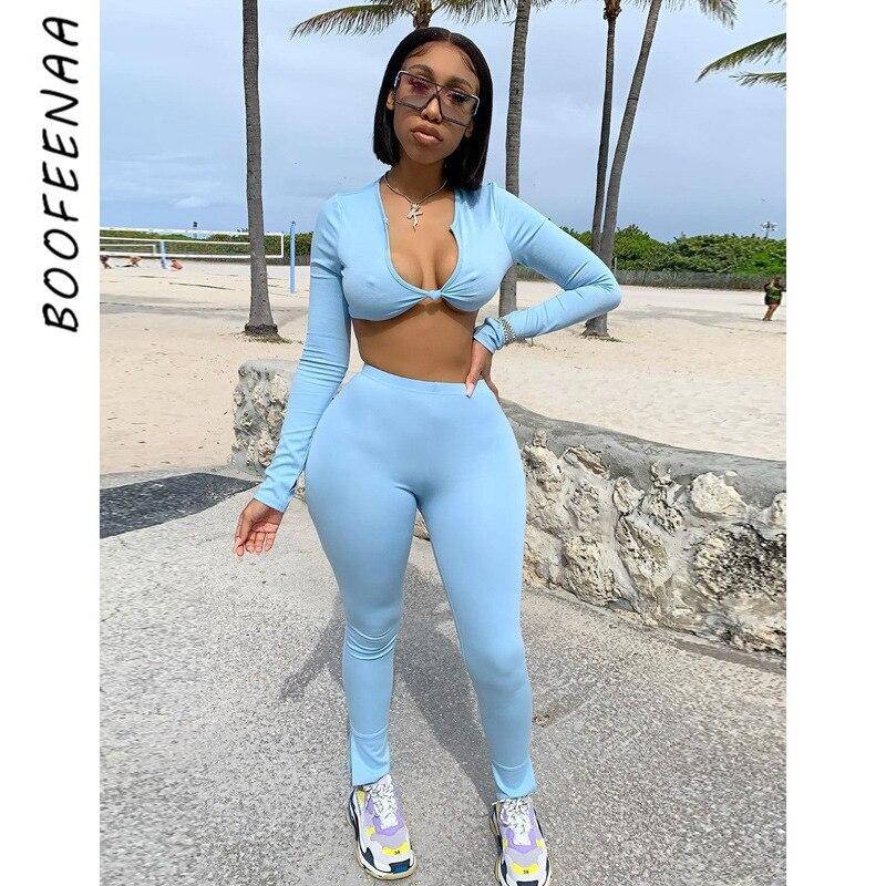 BOOFEENAA 2020 jesień sportowy Sexy 2 sztuka zestaw kobiety V Neck z długim rękawem Crop topy i spodnie dresy strój codzienny C16-CI31
