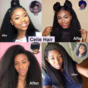 Image 5 - Кудрявый прямой парик Celie фронта шнурка человеческих волос парики для черных женщин предварительно сорванные 360 кружева фронта al парик Glueless человеческие волосы парики