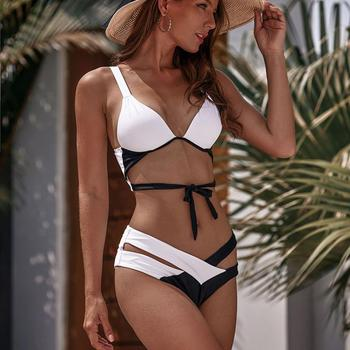 Colysmo Leopard Patchwork Sexy Bikini 2020 Push-up Bra Bandage Swimwear Women Striped Swimsuit Bathing Suit Bikinis Lady Biquins 3