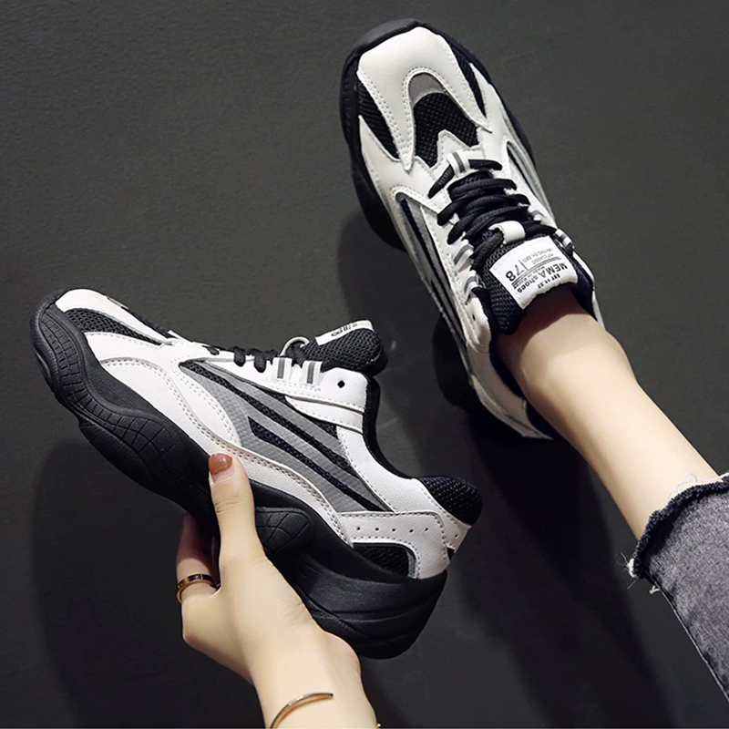 Women's Shoes 2020 New Women's Fashion Lace Up Casual Shoes Women's Sneakers Platform Sneakers Reflective