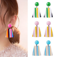 Fashion Colorful Dangle Earrings For Women Dazzle Contrast Color Big Round Pendants Earrings Statement Jewelry(China)
