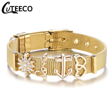все цены на Dropshipping New Fashion Gold Color Love Heart Pan Mesh Bracelet Sets Stainless Steel Bangle for Women as Valentines Gift