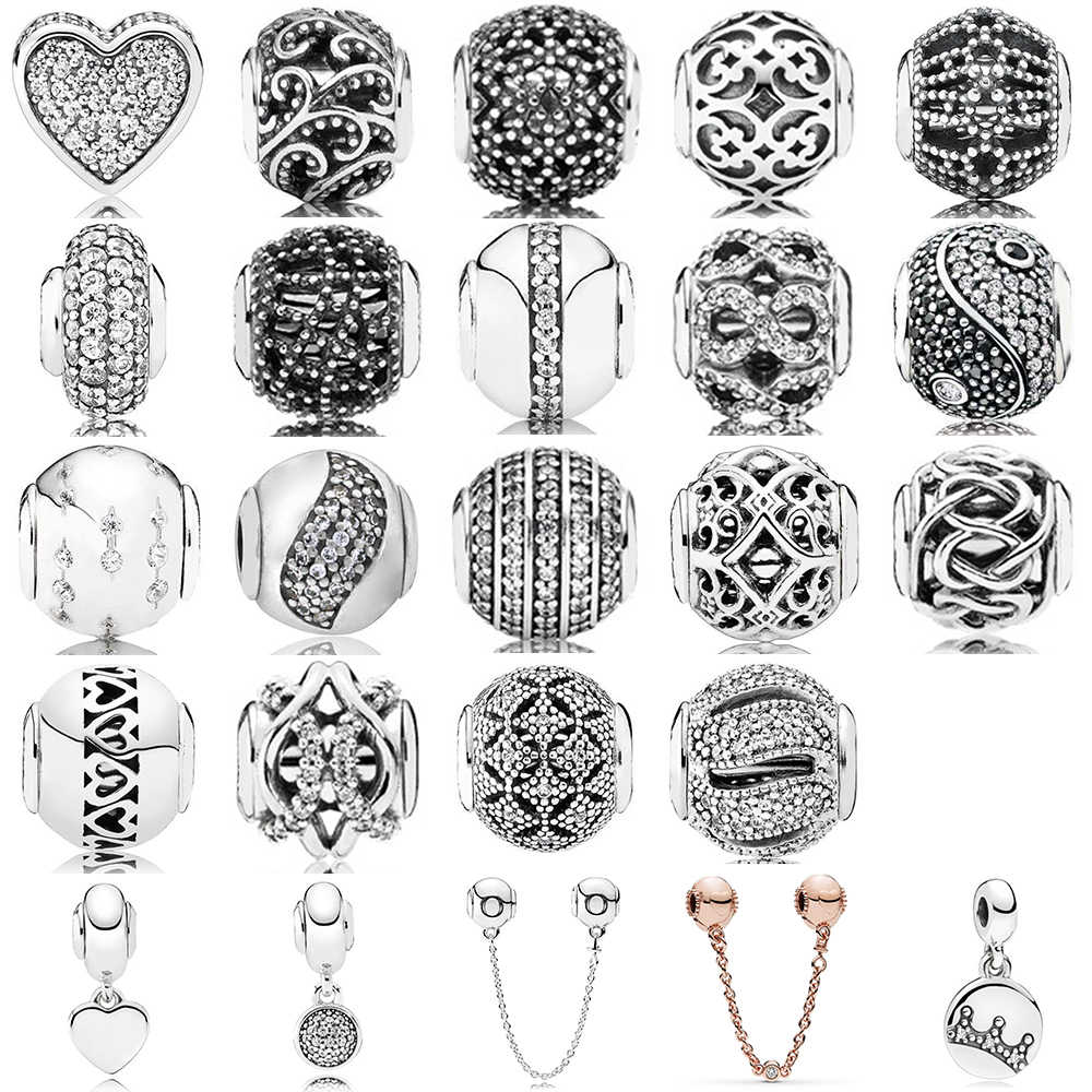 New Fashion 100% 925 Sterling Silver Charm Bead Hollowed Out Pattern Collocation DIY Bracelet & Bangle Gift Factory Wholesale