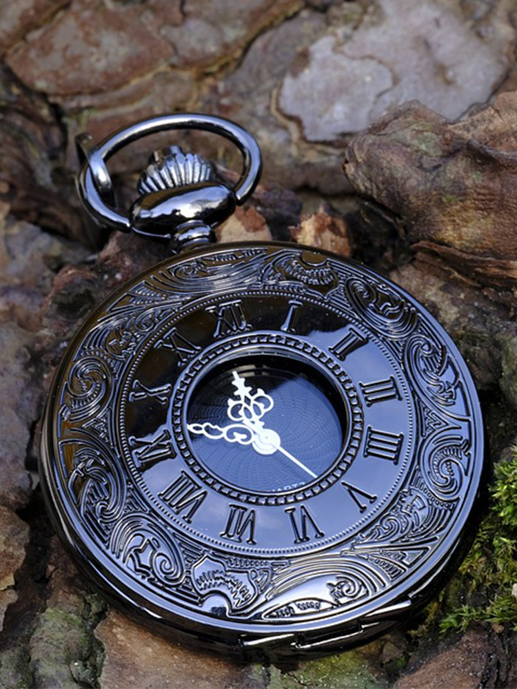 Necklace Pocket-Watch Pendant Steampunk Best-Gifts Vintage Black Women Quartz Case Roman