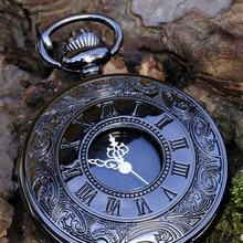 Necklace Case Pocket-Watch Pendant Steampunk Quartz Vintage Black Roman Women Best-Gifts