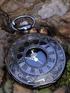 Necklace Pocket-Watch Pendant Steampunk Quartz Best-Gifts Vintage Black Roman Women Case
