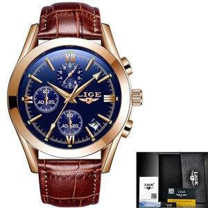 Image 5 - LIGE montre en cuir pour hommes, montre à Quartz de sport, marque de luxe, étanche, avec boîte